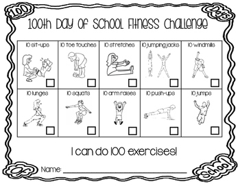 100th Day Of School Fitness Challenge I Can Do 100
