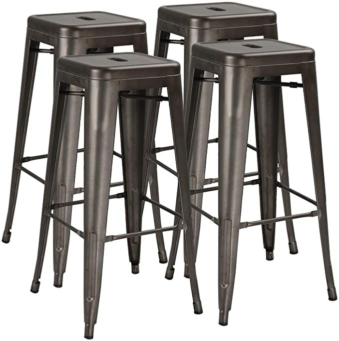 Amazon Com Lemberi 30 Inches Metal Bar Stools Counter Height Stackable Barstool Indoor Outdoor H In 2020 Metal Stools Kitchen Kitchen Stools Counter Height Bar Stools