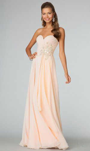 Peach Long Sparkly Jovani 88171 Prom Dresses 2014 | P.R.O.M ...