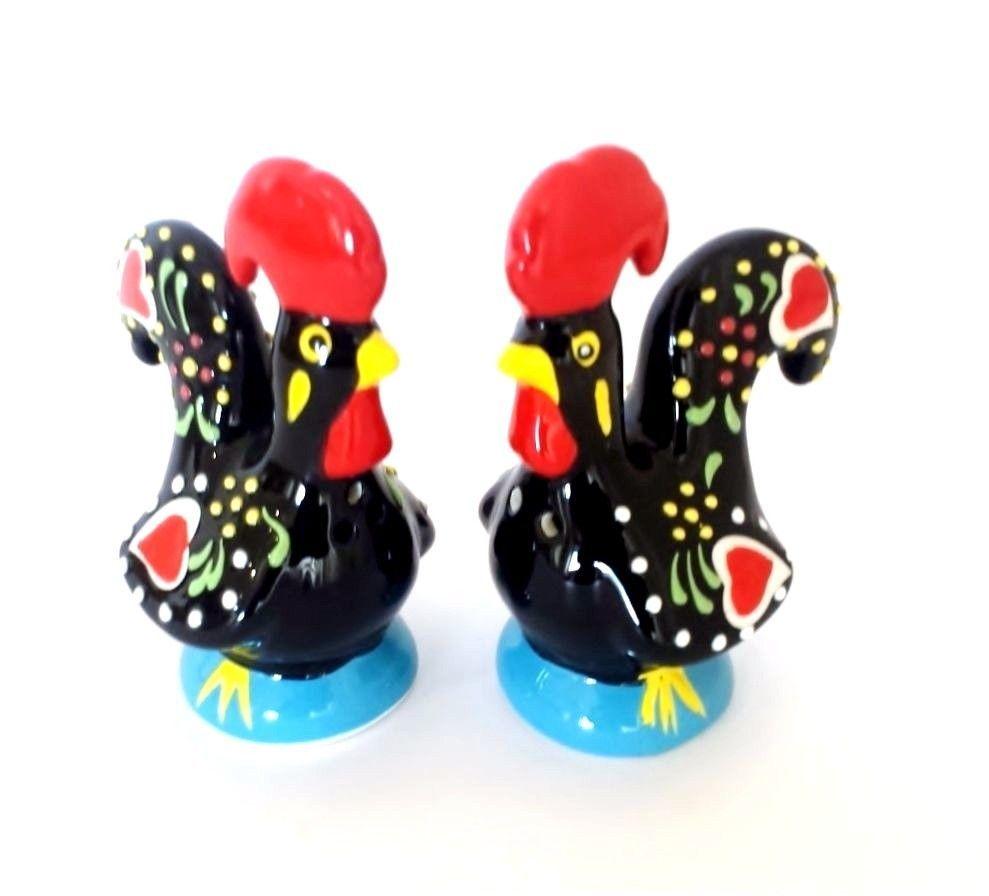 Barcelos Rooster SALT & PEPPER SHAKER Glazed Ceramic Handpainted Handicraft  | eBay