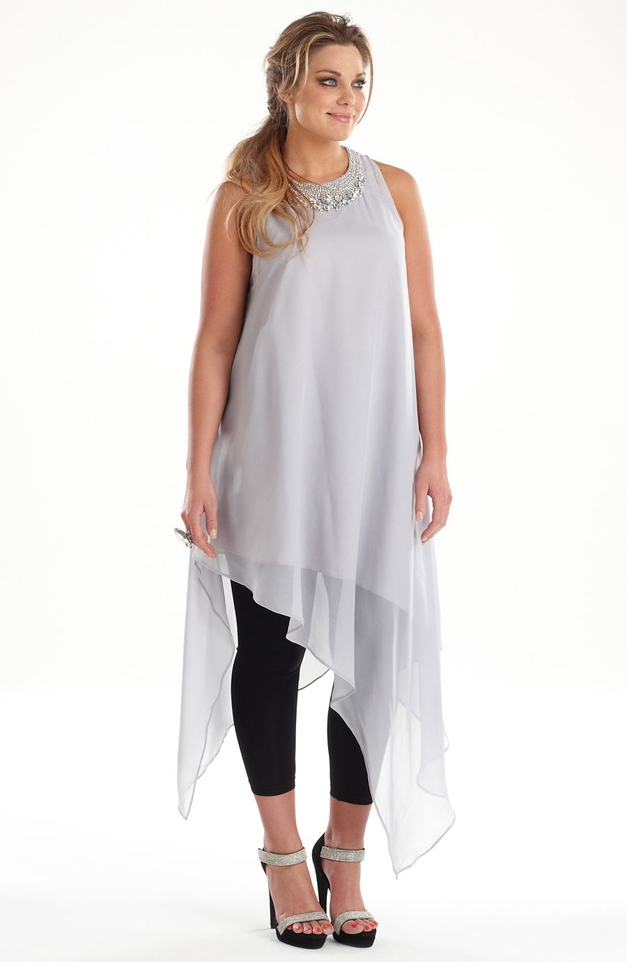 Diamante Evening Tunic Sliver Style No Ed5093 Wow This Stunning Chiffon Top