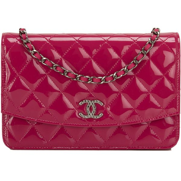PreOwned Chanel Dark Pink Quilted Patent CC Wallet On