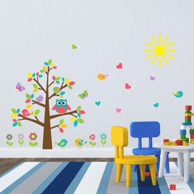adesivo murale bambino gufo uccellini | Stickers Murali Bambini ...