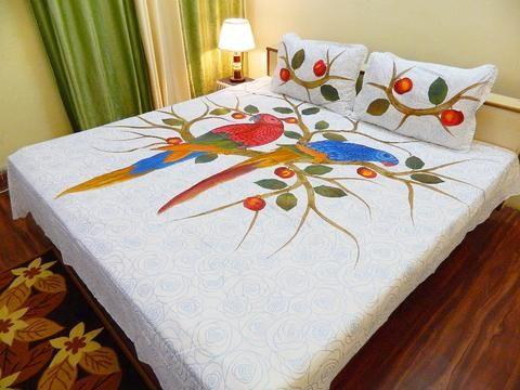 Fabby Royal Parrot Applique Designer Bedsheet Fabric Paint