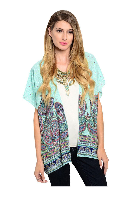 Short Sleeve Abstract Print Kimono Cardigan
