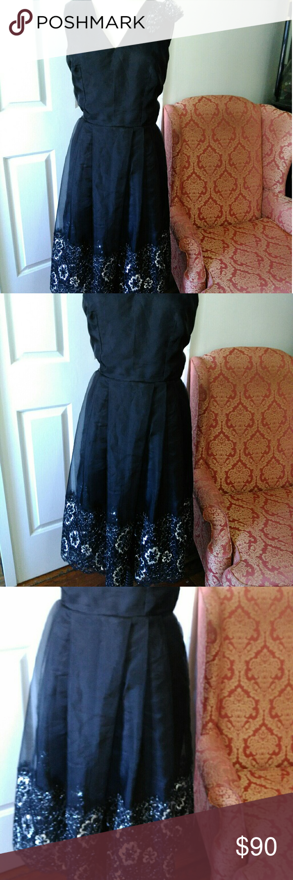 Lace below knee dress  Black Lace Finished Dress  Size   Black laces Floral lace and