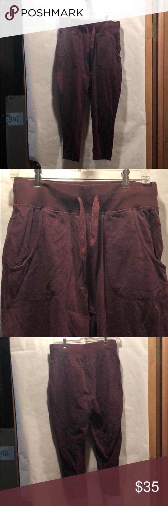 lululemon burgundy capri sweats these pants are so comfy too big