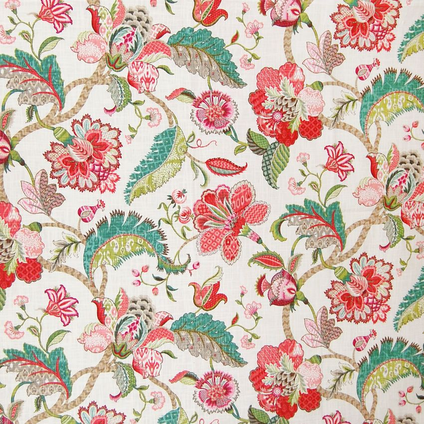 Raspberry Pink Floral Cotton Upholstery Fabric Greenhouse