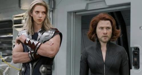 Humor: Black Widow and Thor swap faces « UndergrounDuelists