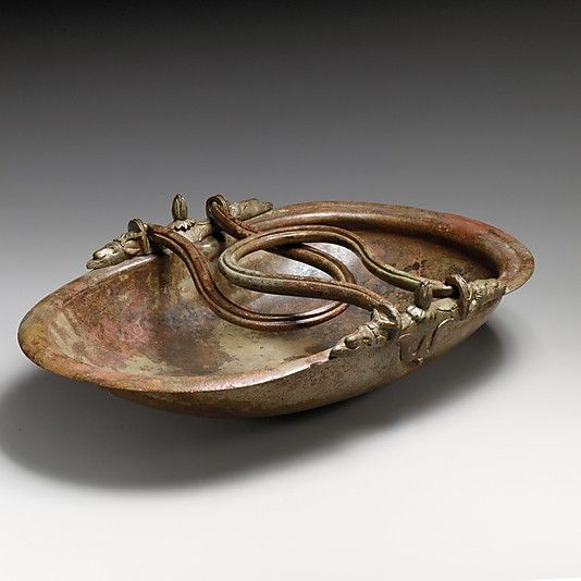 Bronze basket vase with swinging handles, Period: Late Republican or Augustan  Date: 1st century B.C.  Medium: Bronze  Dimensions: width 27 cm (10 3/5 inches)