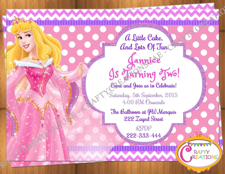 Sleeping Beauty Princess Aurora Invitation Birthday Party - Princess ...
