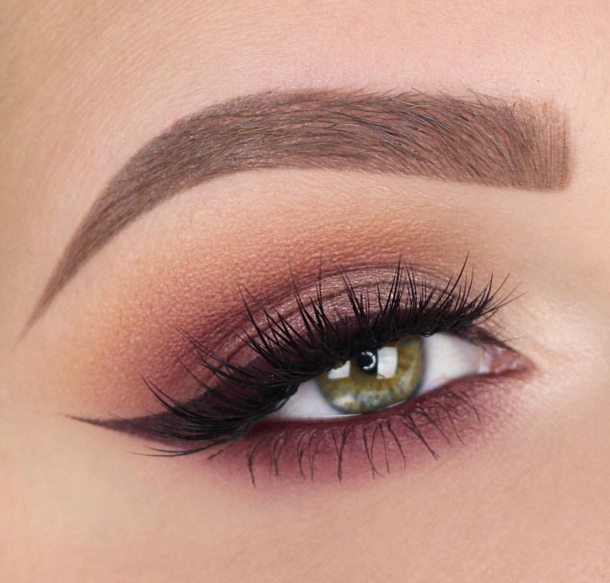 Natural Plum And Brown Smokey Eye With Burgundy Winged Liner To