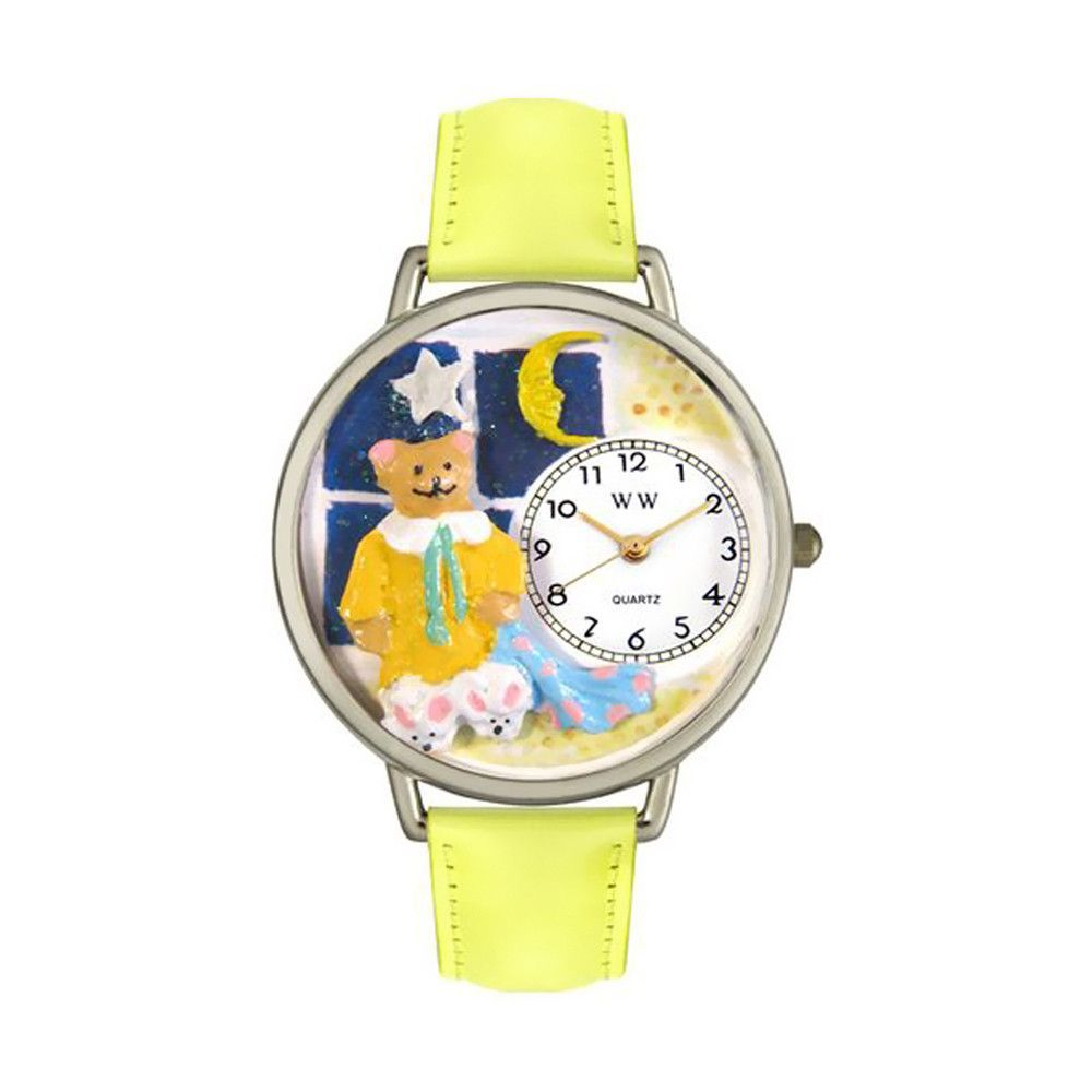 Whimsical Watches Designed Painted Night Night Teddy Bear Yellow Leather And Silvertone Watch