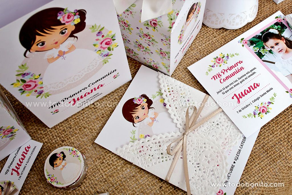Imprimibles de Primera Comunión para niñas estilo rústico | primera ...