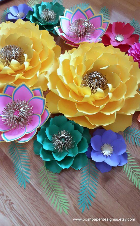 Fiesta Theme Paper Flower Backdrop Large Paper flower backdrop ...