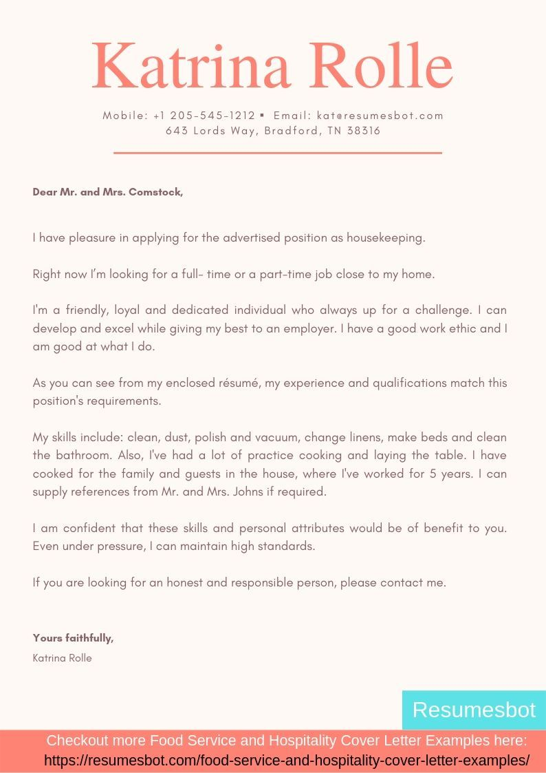 Housekeeper Cover Letter Samples Templates Pdf Word 2020
