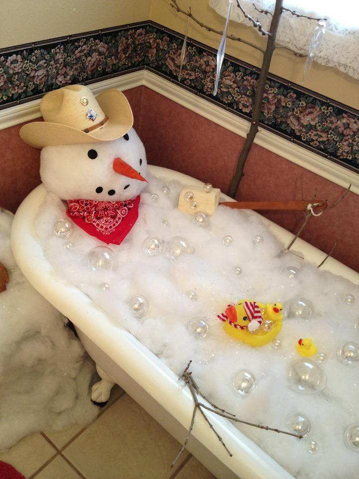 Built a snowman in a client's clawfoot tub