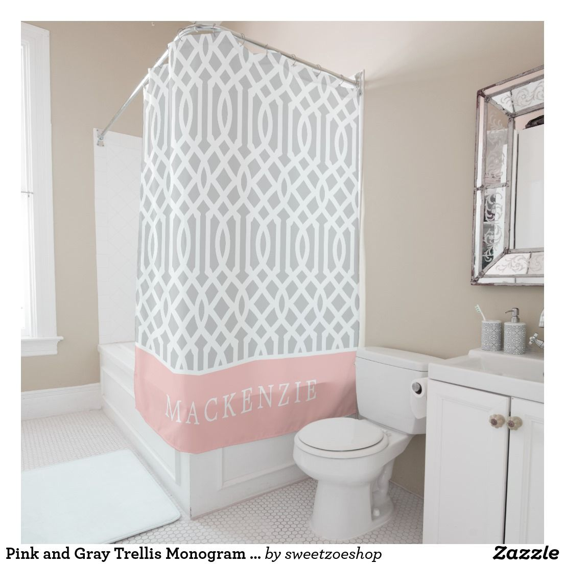 Pink And Gray Trellis Monogram Editable Colors Shower Curtain