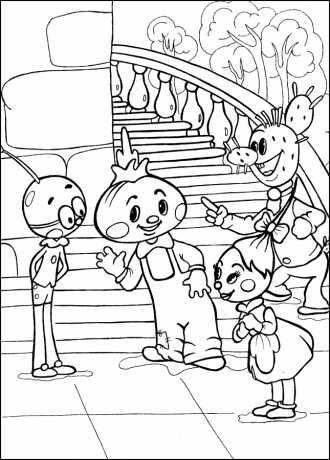 Герои мультфильма Чиполлино, скачать детскую раскраску ...