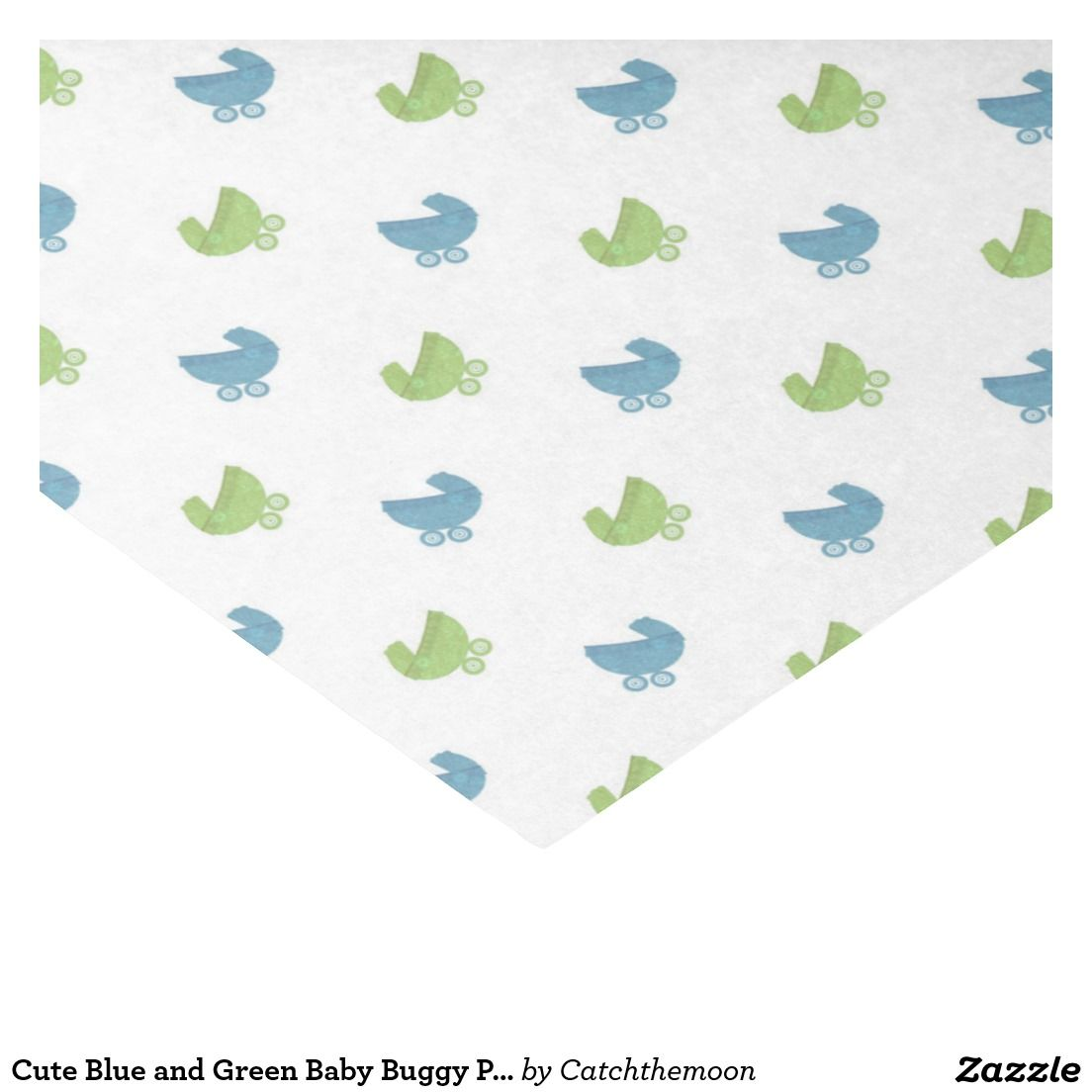 """Cute Blue and Green Baby Buggy Pattern 10"""" X 15"""" Tissue Paper"""