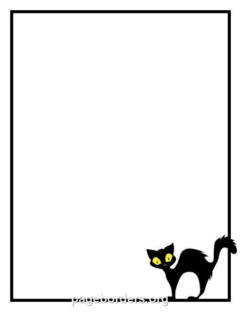 Printable Black Cat Border. Use The Border In Microsoft Word Or Other  Programs For Creating  Microsoft Word Page Border Templates