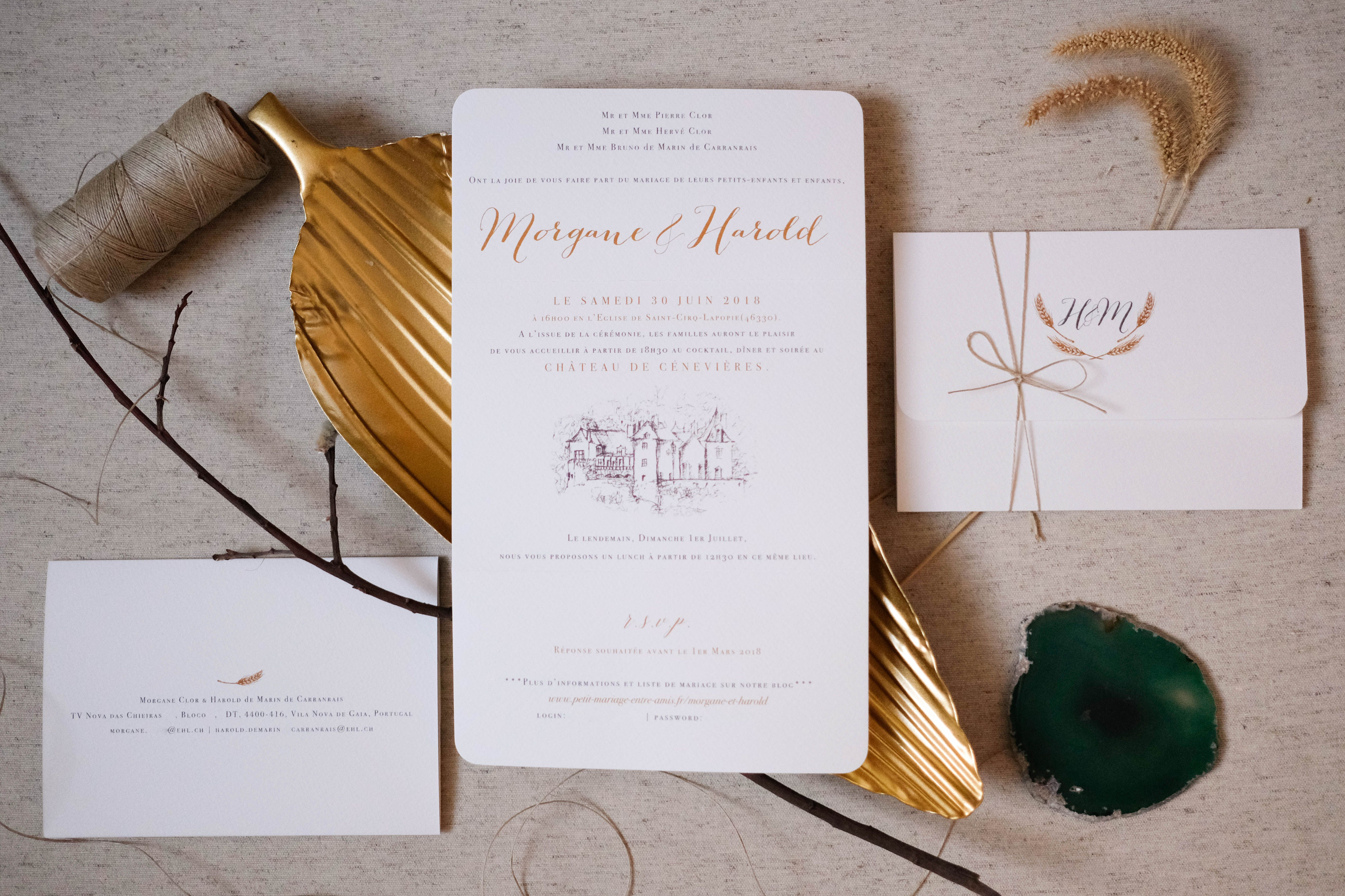 Custom made illustrations on a rustic wedding invitation, in gold ...