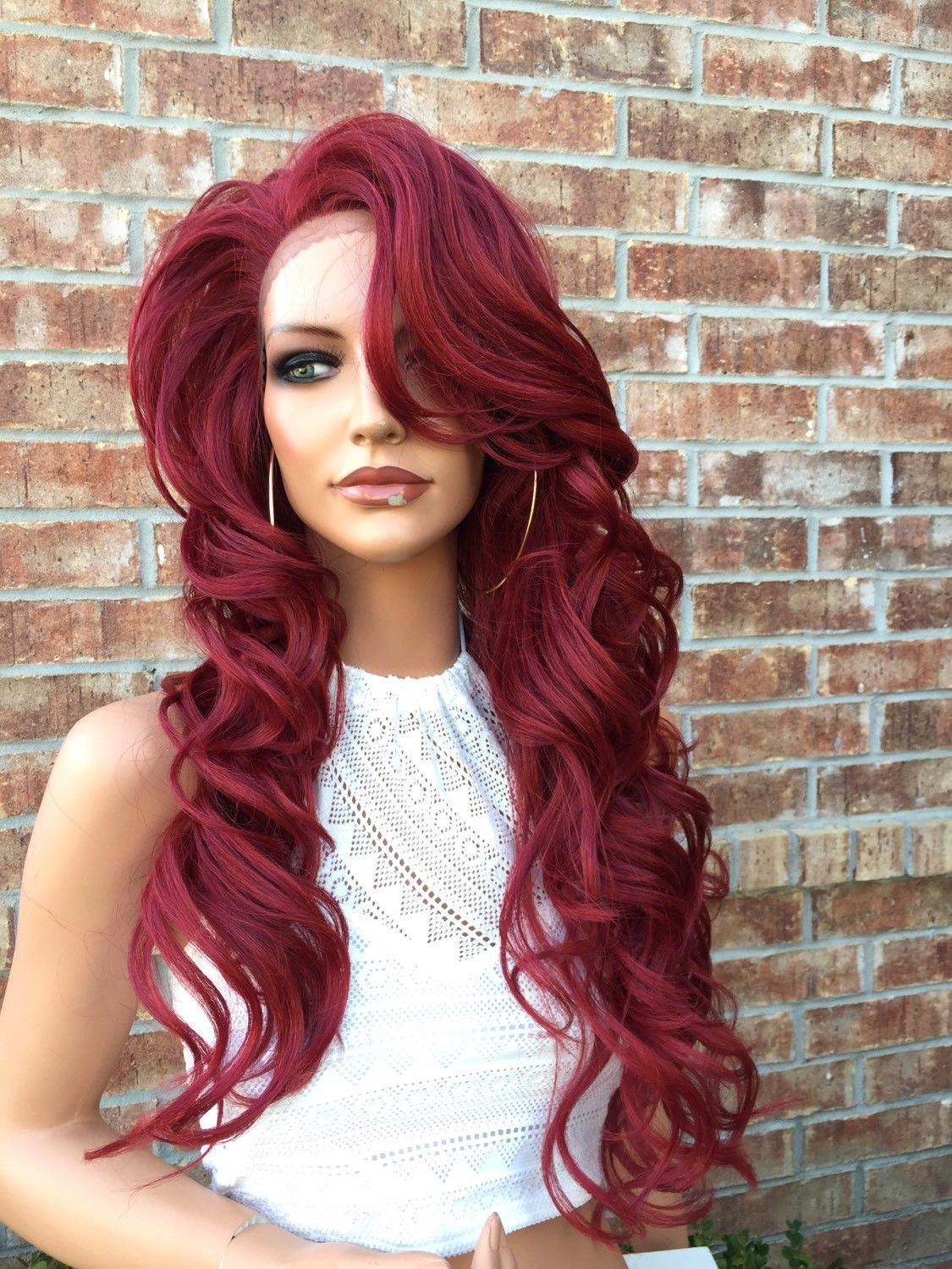 ba85ef494 |Bella Hair Company| Fiery Red Curly Human Hair Blend Lace Wig 24