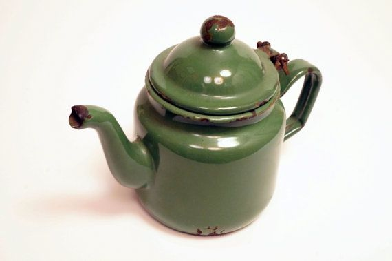Adorable Small Green Enamel Teapot Vintage by VintageAndLoverly