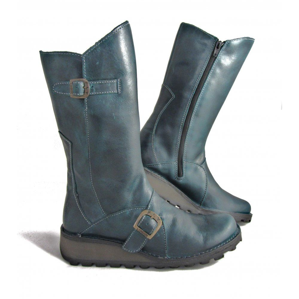 ba0590206dc Fly London Mes Mid Calf Boot in petrol   If only   Boots london, Fly ...