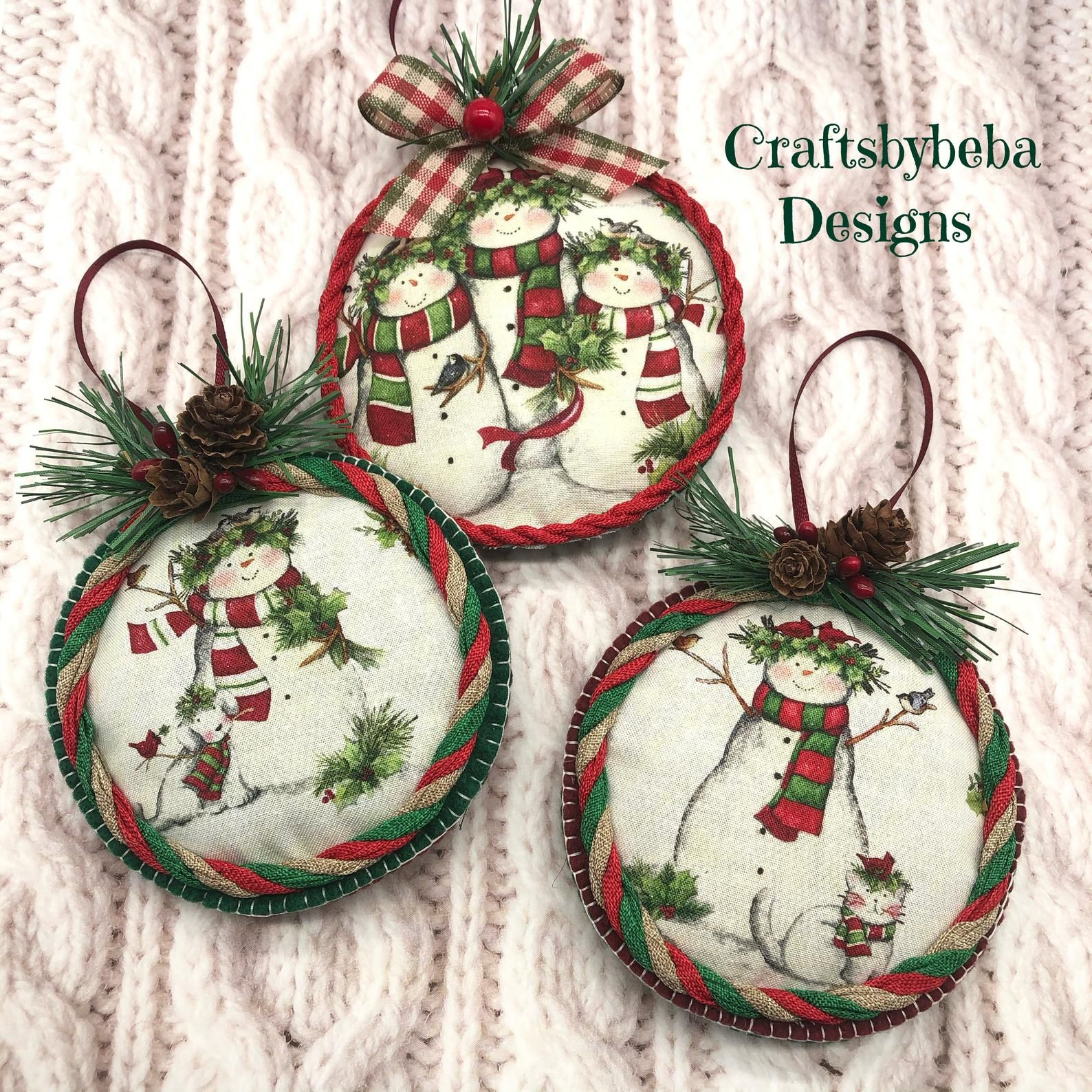 Snowman Handmade Ornaments Set 3 Ornaments Christmas Etsy Christmas Ornament Crafts Fabric Christmas Ornaments Christmas Ornaments