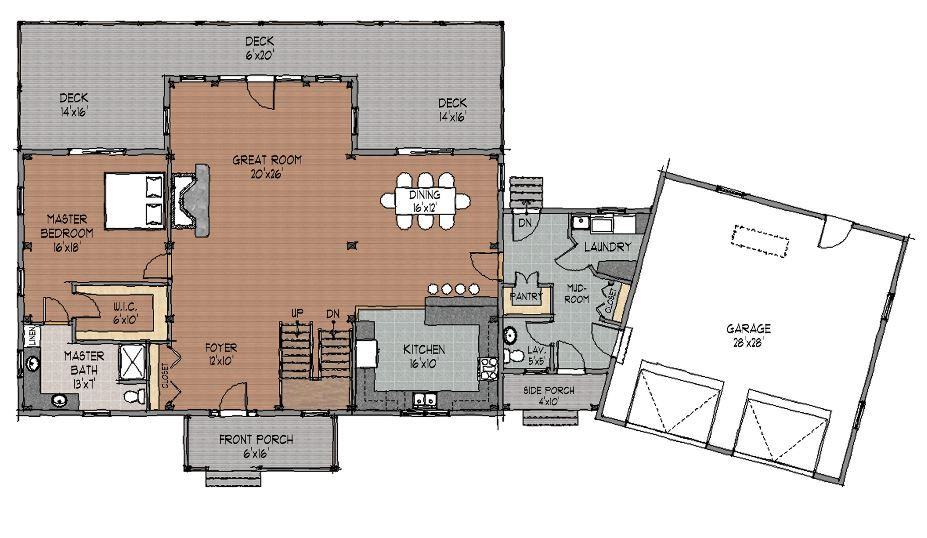 Lakeland Timber Home Floor Plan by Davis Frame Company