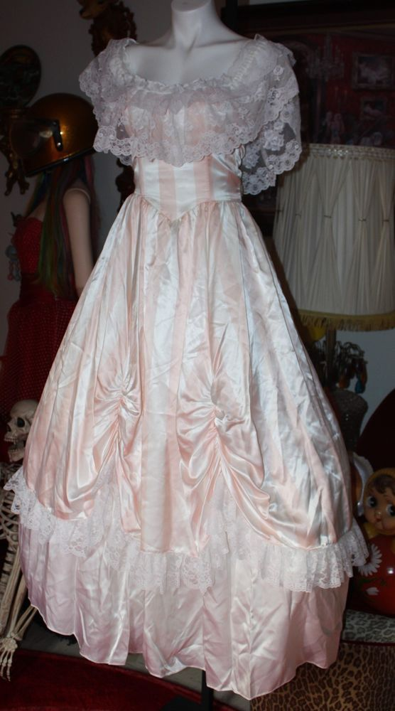 Vintage 80\'s prom dress gown southern belle pink stripes gunne sax ...