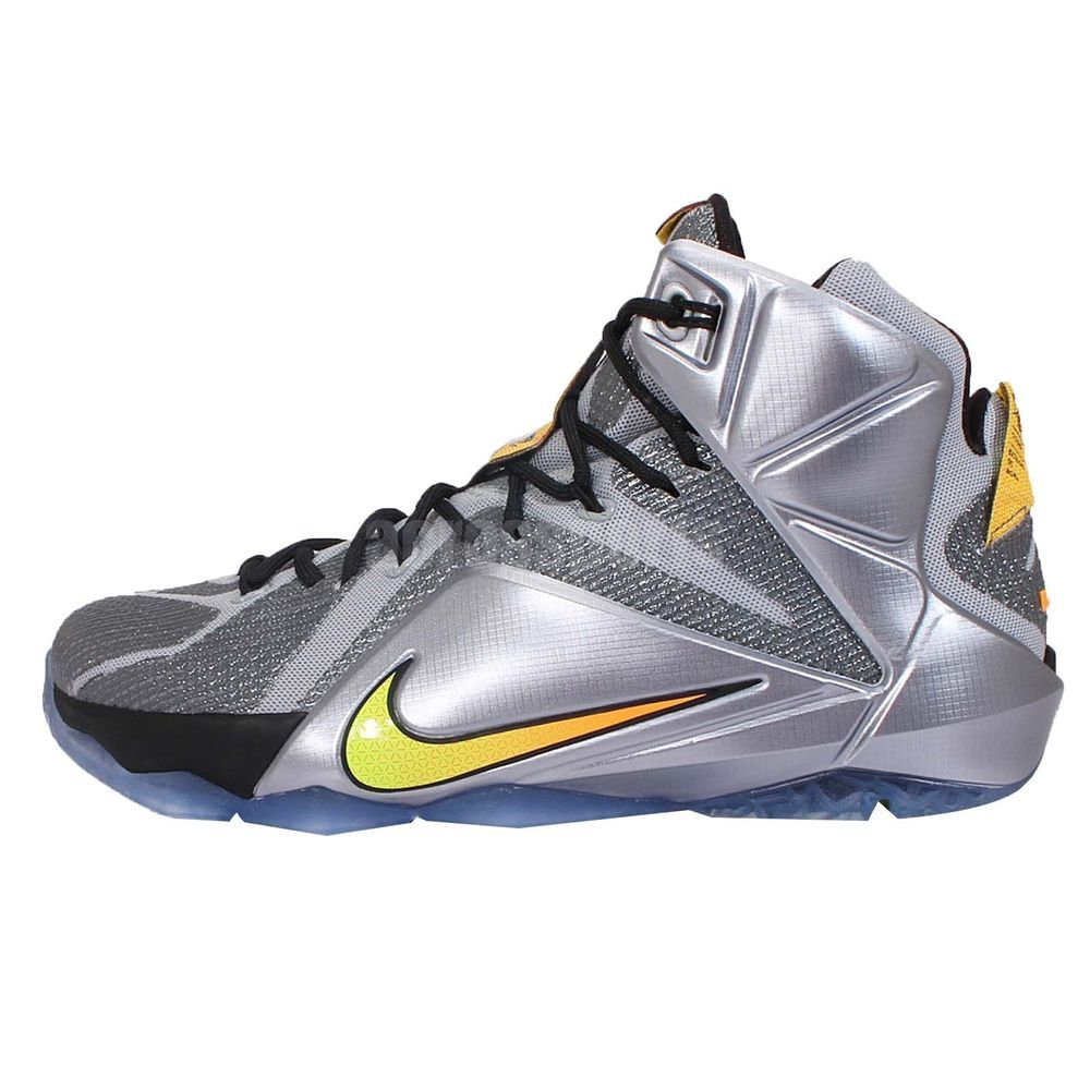best website d3353 0ad75 Nike Lebron XII EP 12 Flight Lebron James Silver Orange Mens Basketball  Shoes http