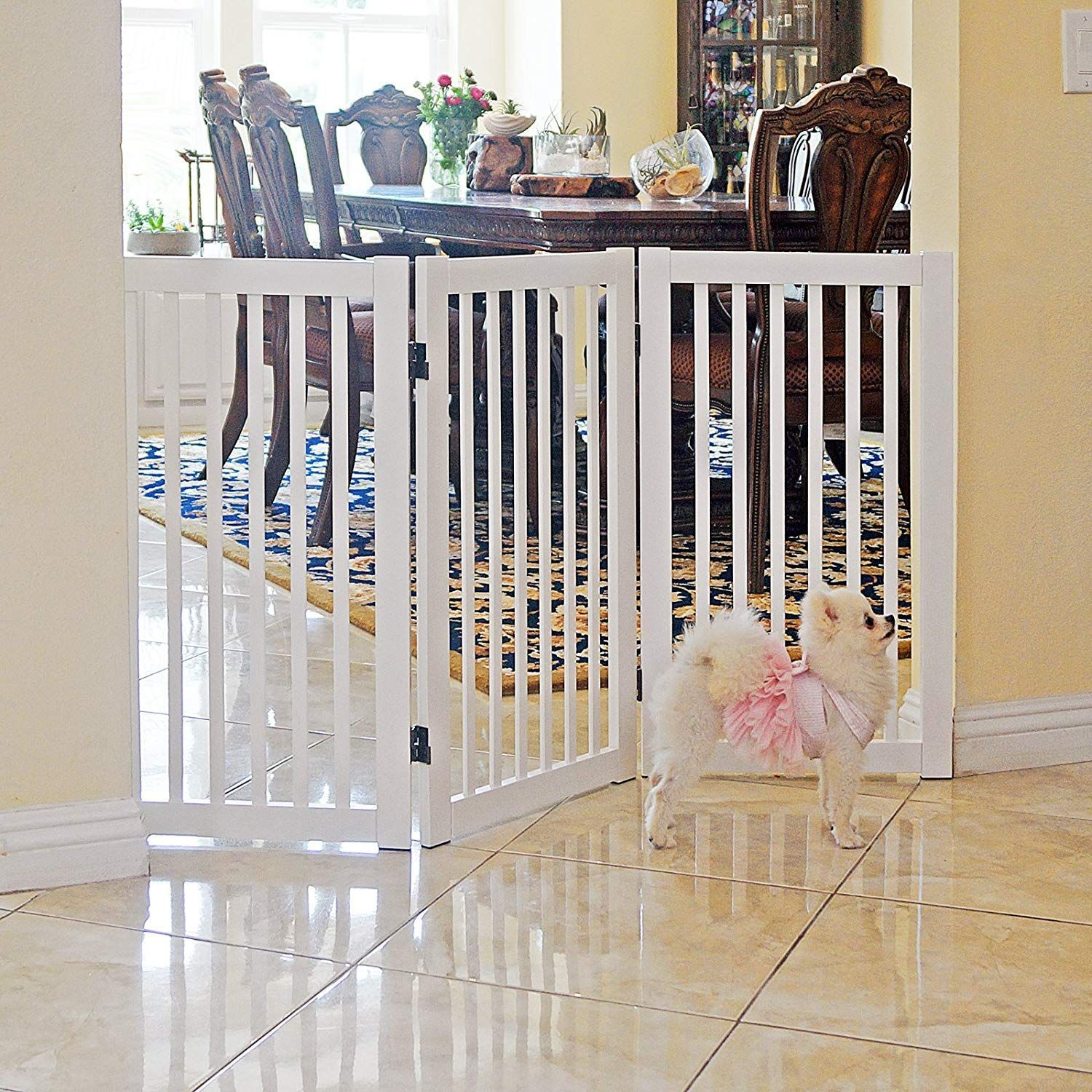 Welland Freestanding Wood Pet Gate White 54 Inch Width 30 Inch Height No Support Feet Read Extra At The Photo Link This In 2020 Dog Gate Pet Gate Baby Gates