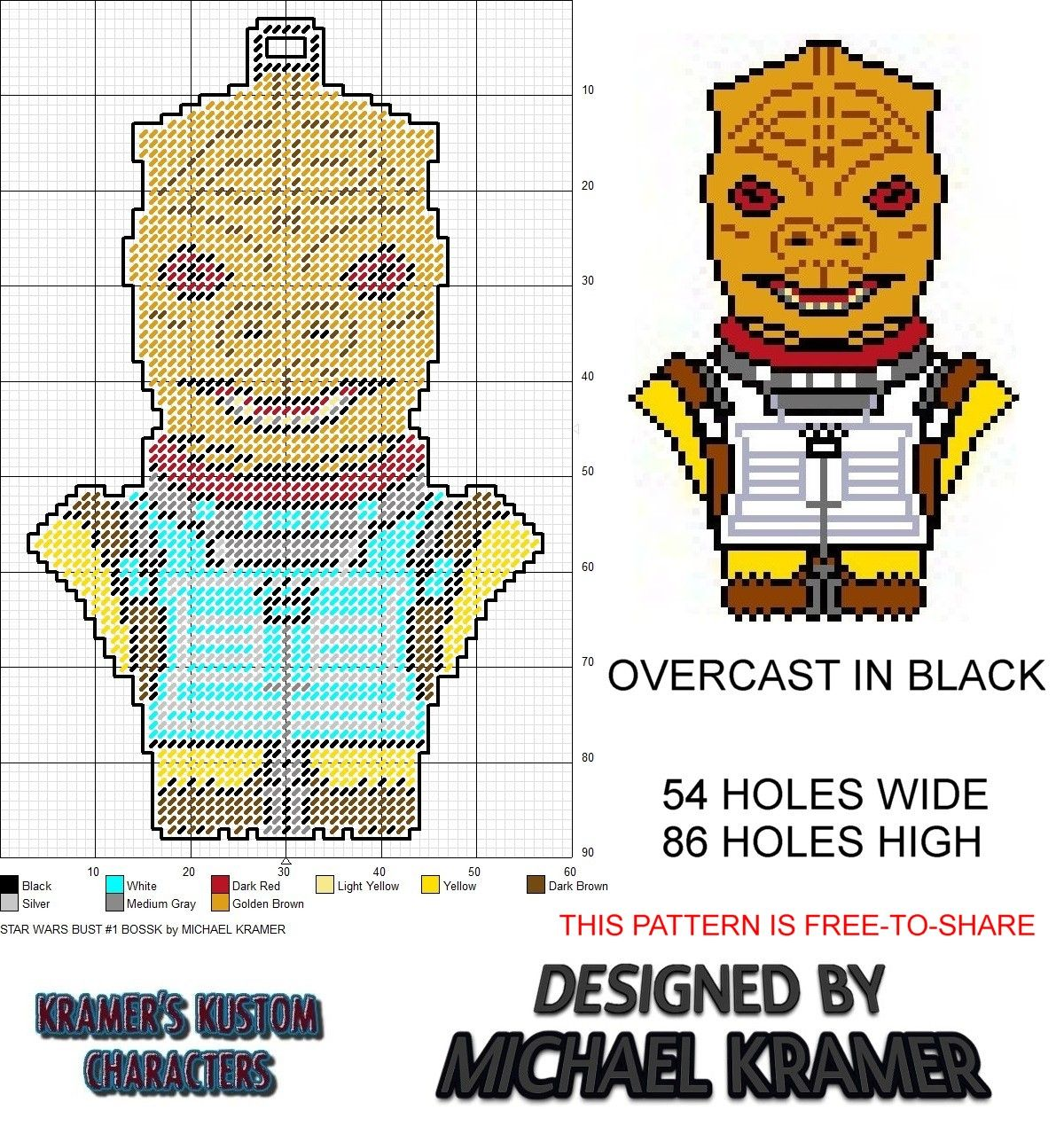 Star Wars Bossk Micro Hero Bust plastic canvas pattern by Michael ...