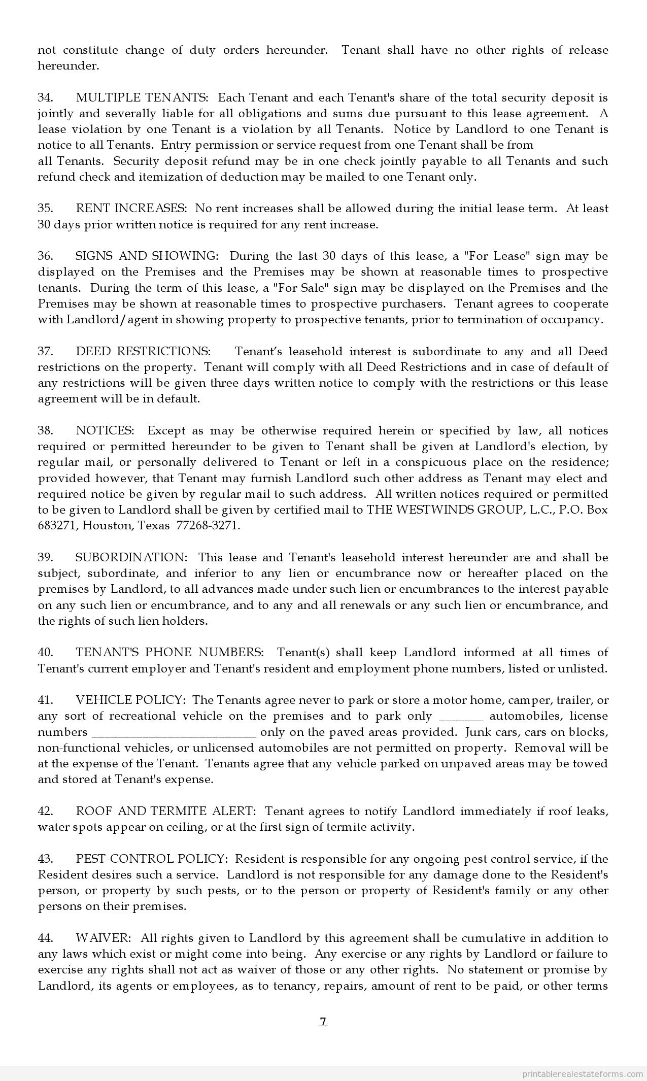Sample Printable Lease Agreement Form Sample Real Estate