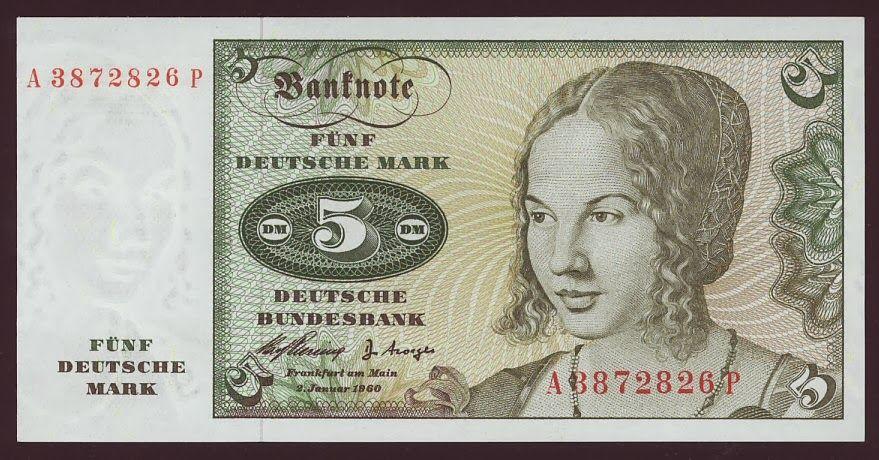 German currency 5 Deutsche Mark banknote of 1960,