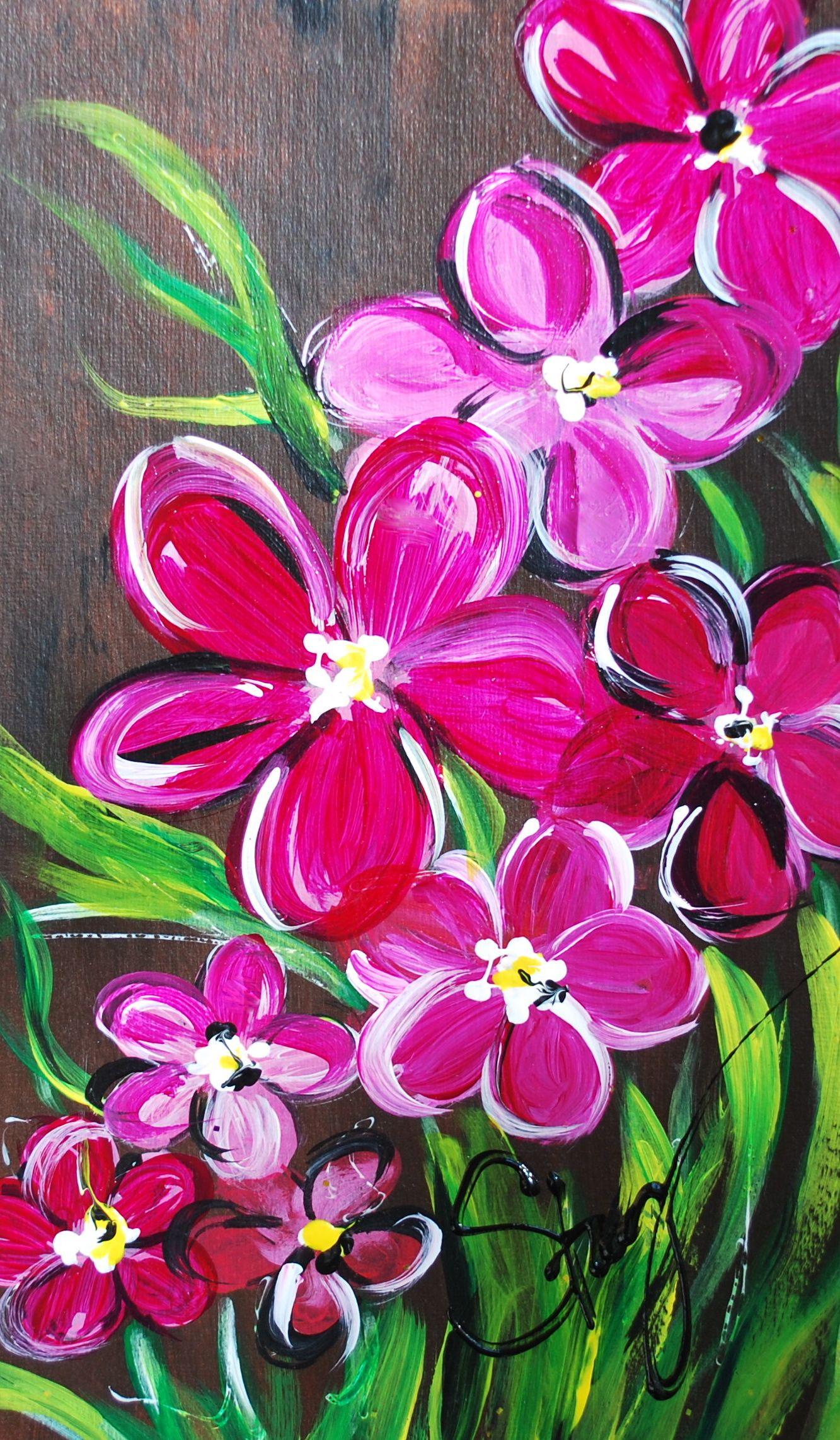 Flowers on 8x24 art painting canvas artwork flower art