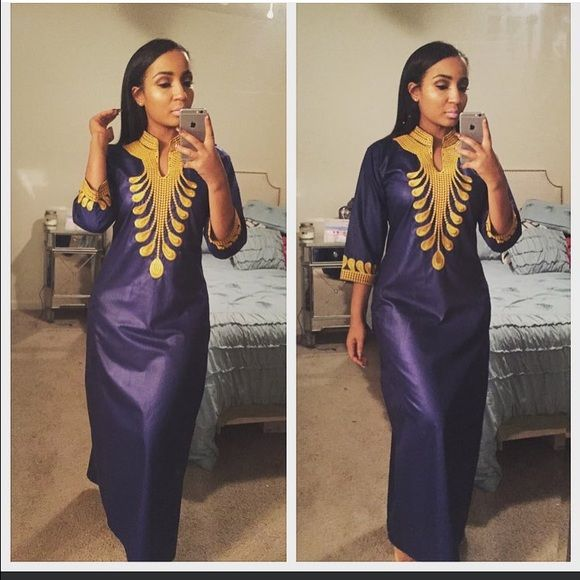 Dress Long African Dress With Pockets Email; Habibicouture