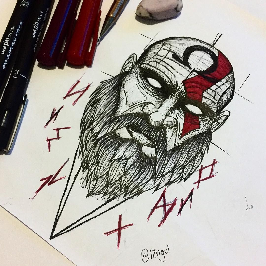 In The End There Will Be Only Chaos Kratos Tatuagem De Lapis