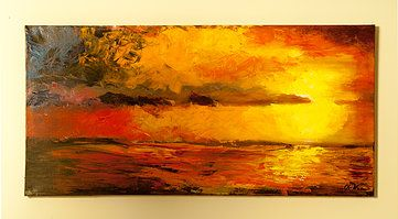 The serenity and warmth of the sun eliminates all turmoils. Acrylic painting on canvas, painted  with a knife palette.