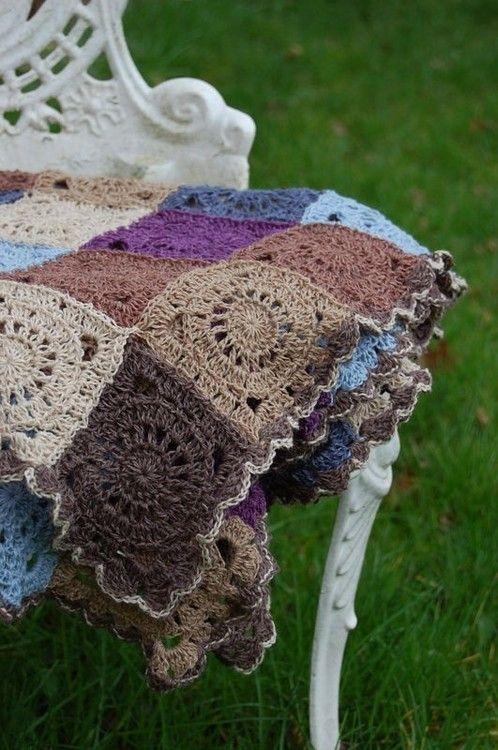 Earthy crocheted afghan.
