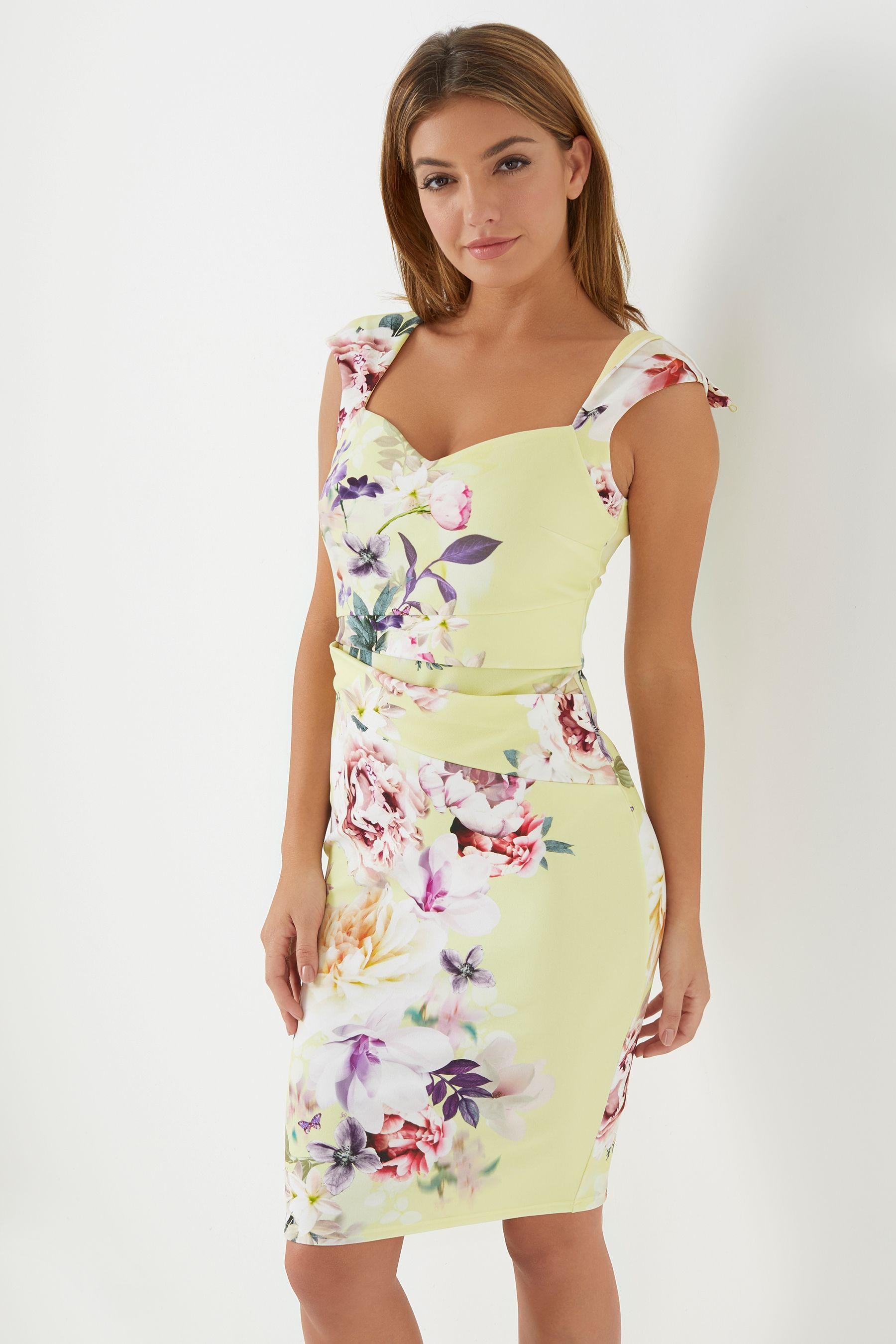 60e3a14b3b83 Womens Lipsy Sasha Print Sweetheart Bodycon Dress - Yellow ...