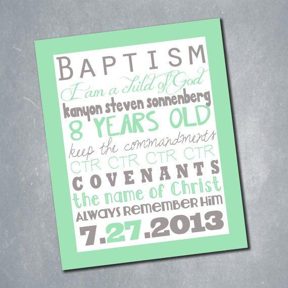 $6 Custom LDS Baptism Subway Art Sign. Baptism Decor Print. Customized Digital File. Size 11x14. || Etsy Shop: MeghansView