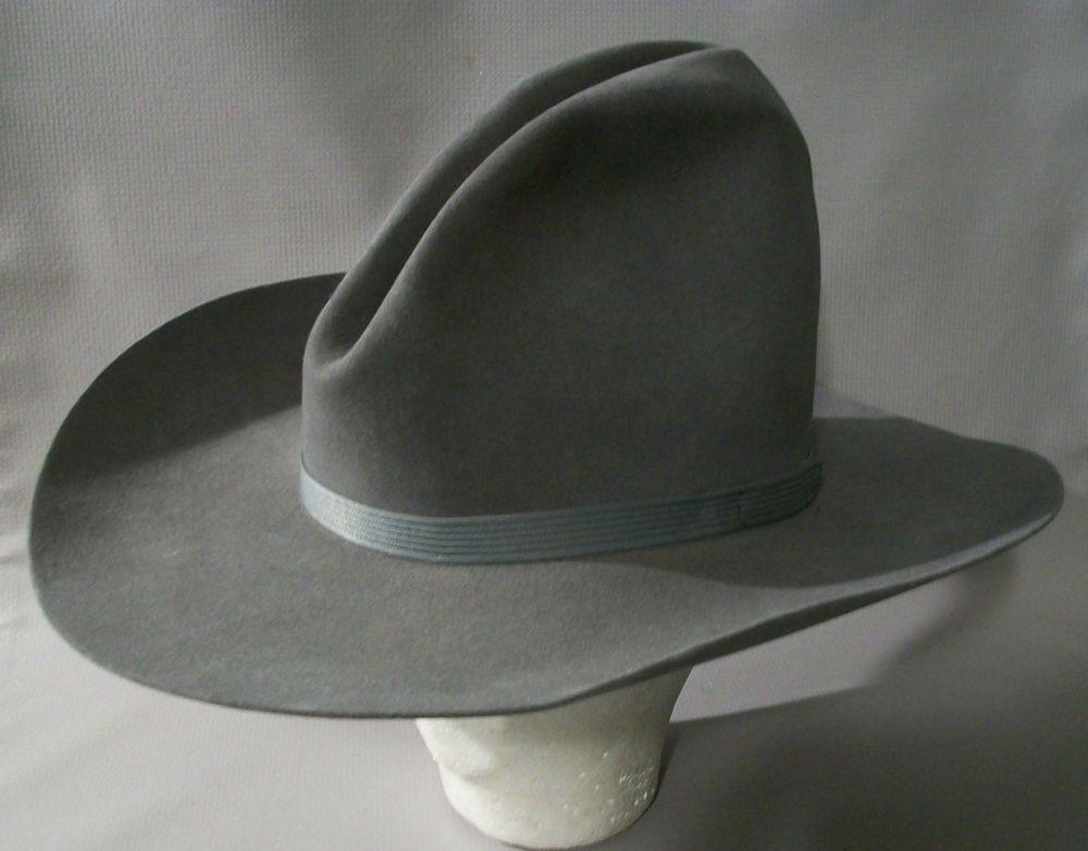 VTG Resistol USA Gray 4X Beaver Gus Style Montana Cowboy Hat 7-3 8   Resistol  CowboyWestern d434b315c55