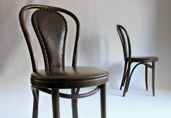 Awesome Pair Upholstered Bentwood Cafe Chairs. Leather. By Owlsongvintage, $450.00