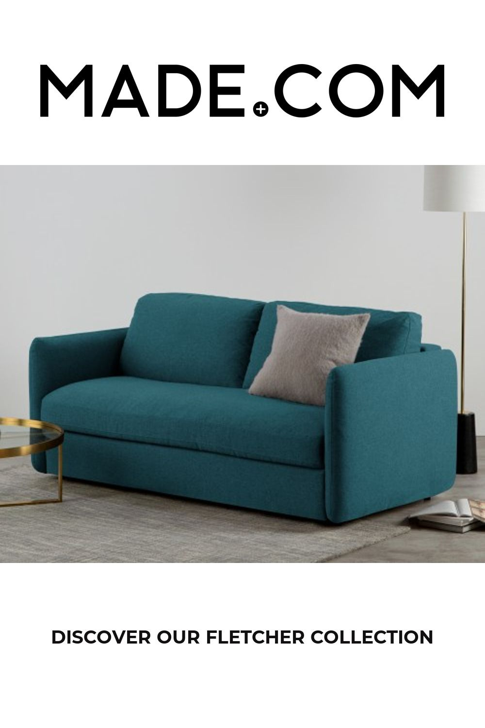 Fletcher 3 Seater Sofabed with Pocket Sprung Mattress, Mineral Blue