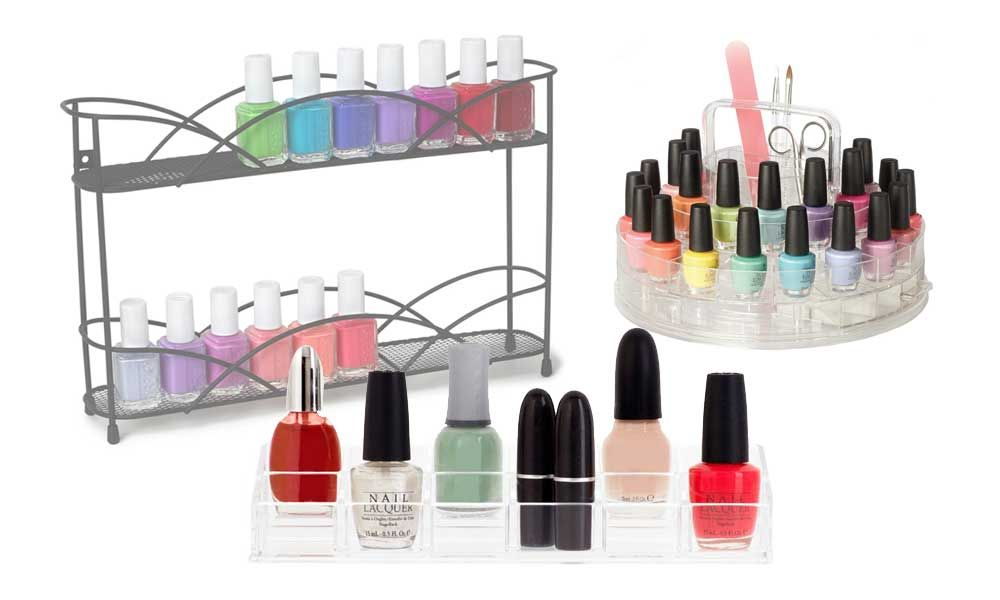 Nail Polish Organizers - blog post about how to store nail polish, with several different options. Organizing nail polish helps declutter your vanity while keeping nail polish accessible. It also reduces chances of spilling.