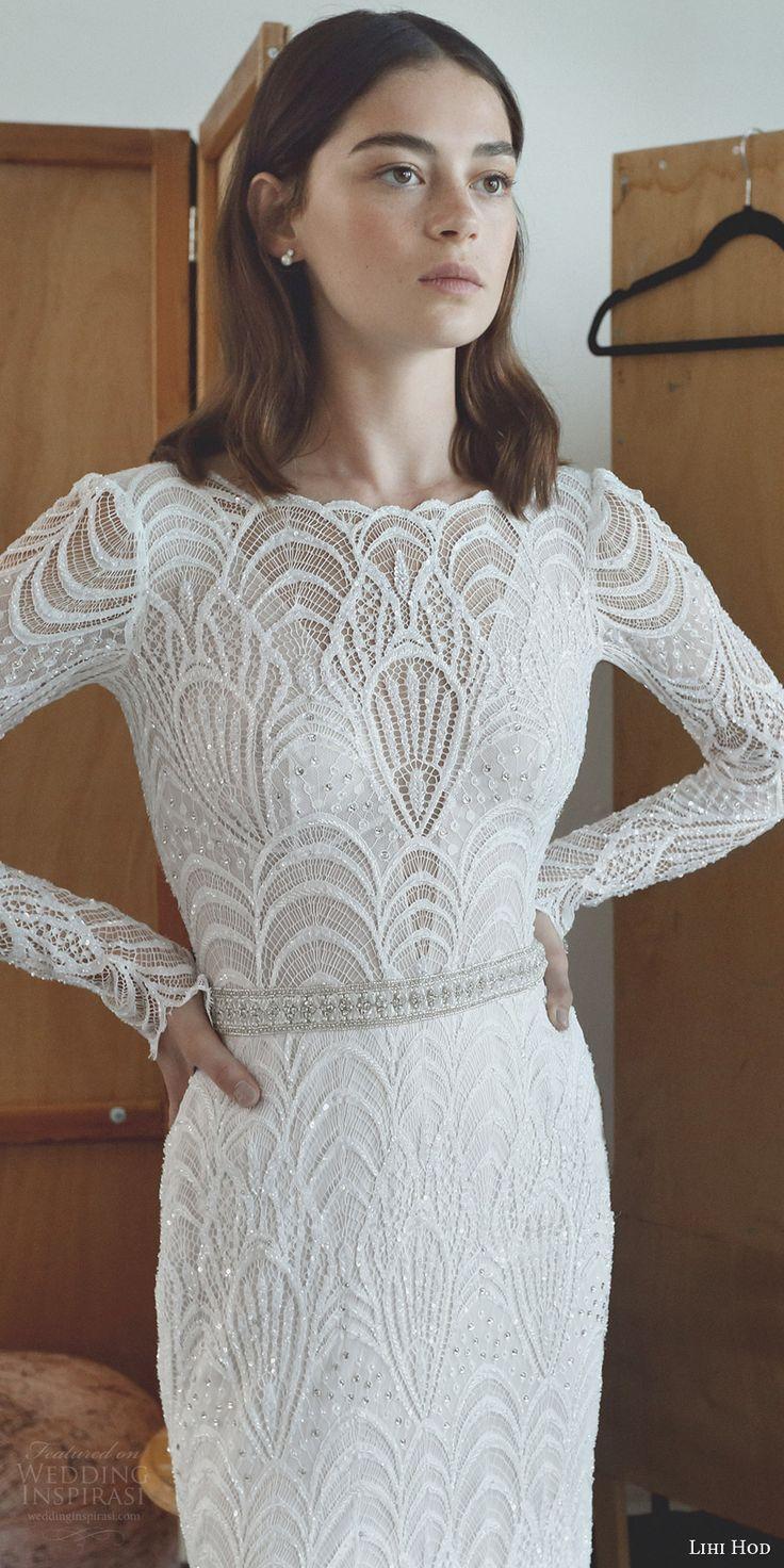 Lihi hod bridal long sleeves bateau neckline full embellishment