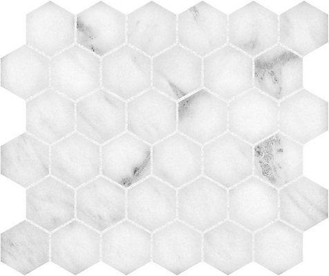 Tres Beau Marbre Blanc Dans Un Motif Hexagonal Resolument Moderne